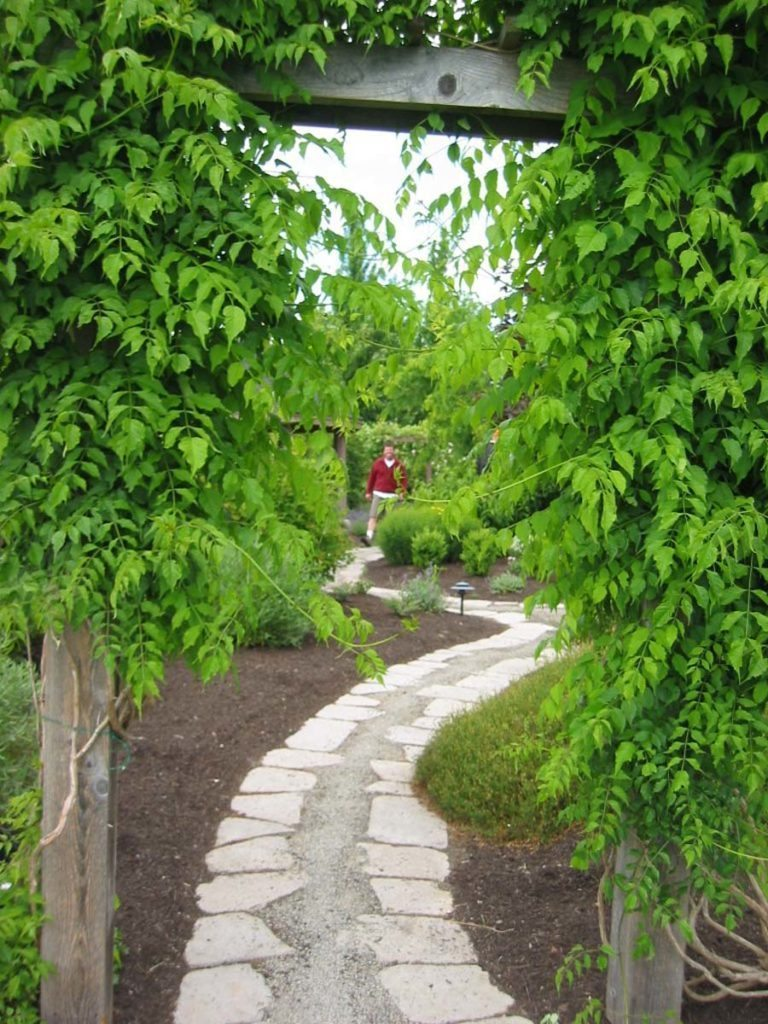 split stone gravel path in landscape design