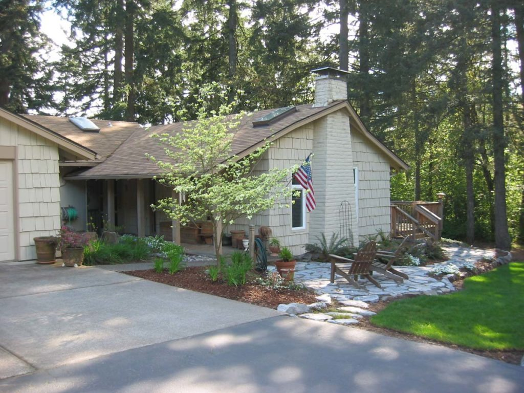 split stone patio and path with adirondack chairs in salem oregon