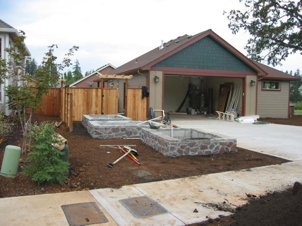 raised beds flagstone construction landscape