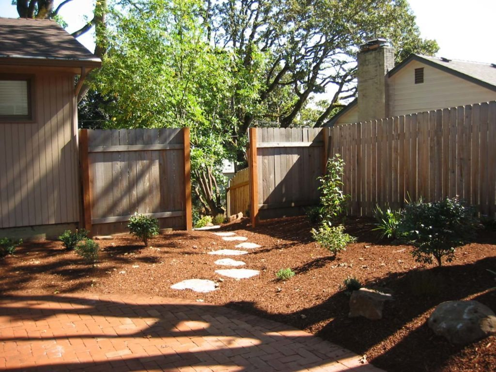 split stone path with clay brick landscape design
