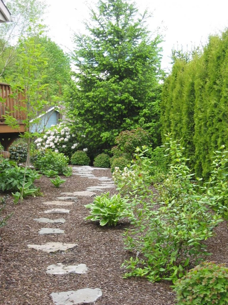 split stone pathway through new landscape