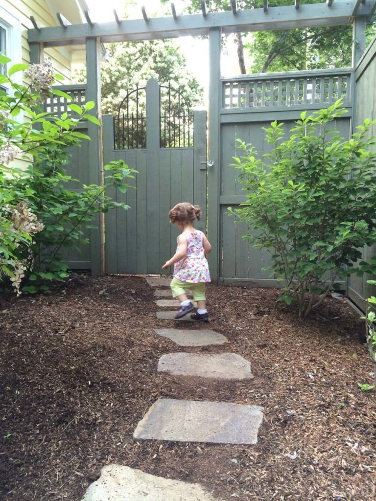 split stone pathway with custom gate and fence in salem oregon 2