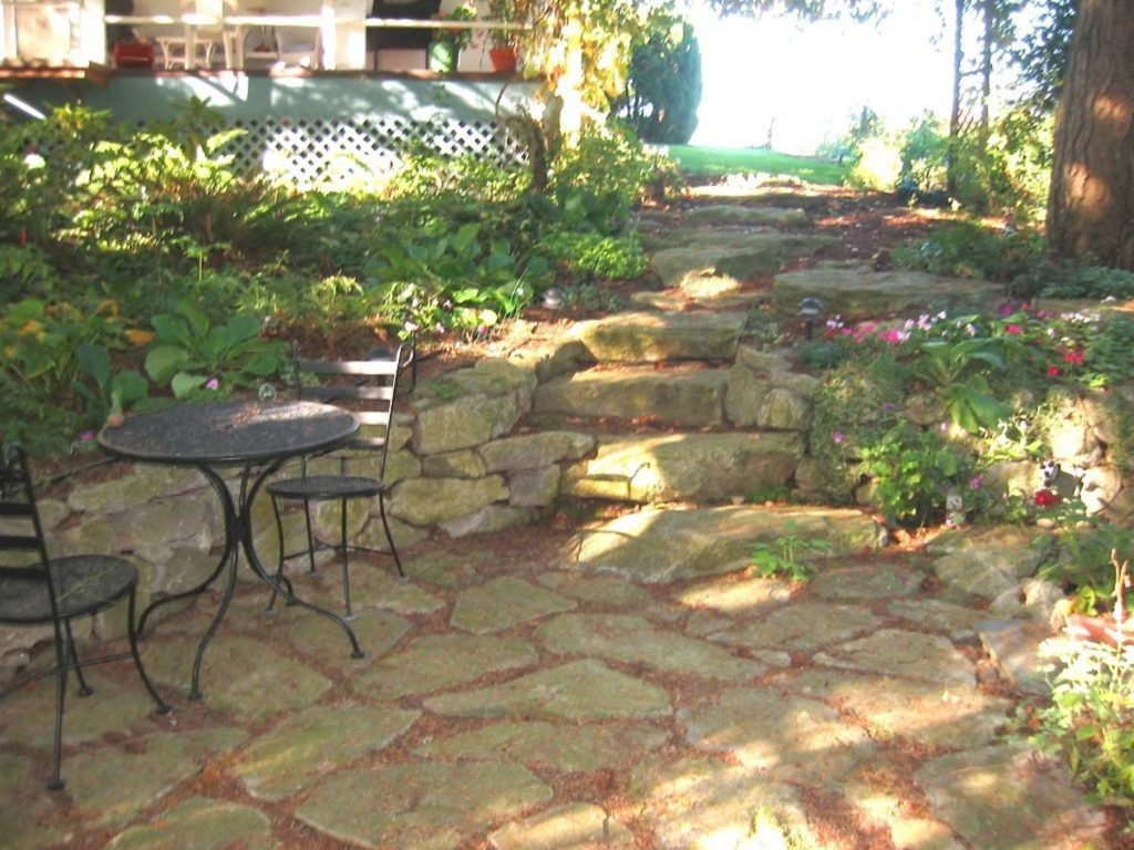native drip irrigation patio water feature landscape design