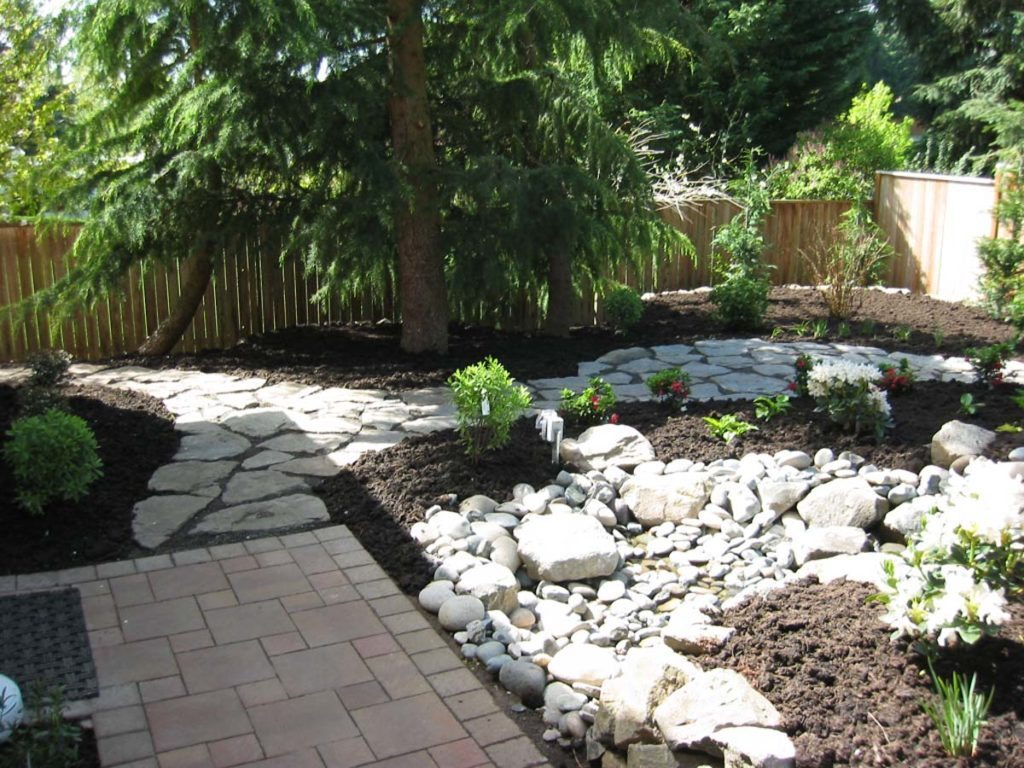 split stone pathway landscape design and dry stream