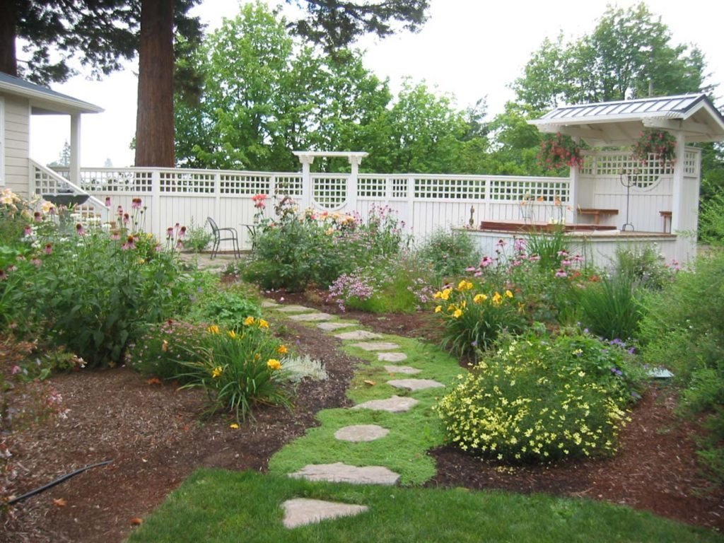 spa and pathway with trellis and arbor landscape design