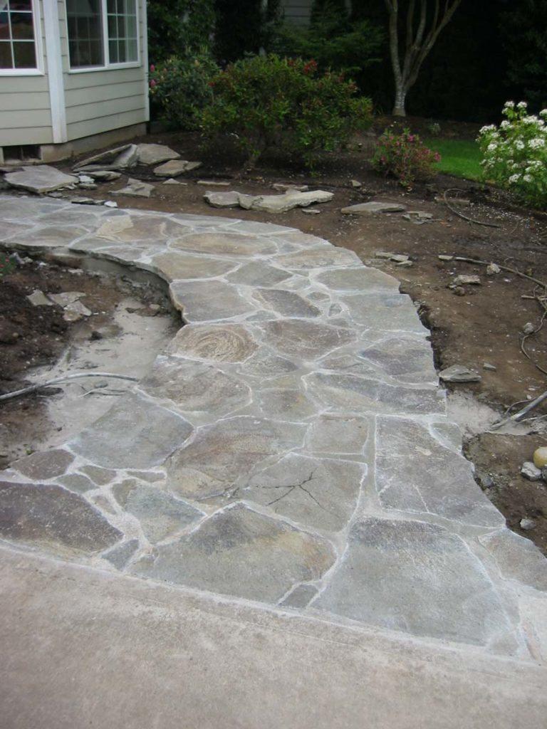 stone overlay walkway landscape design