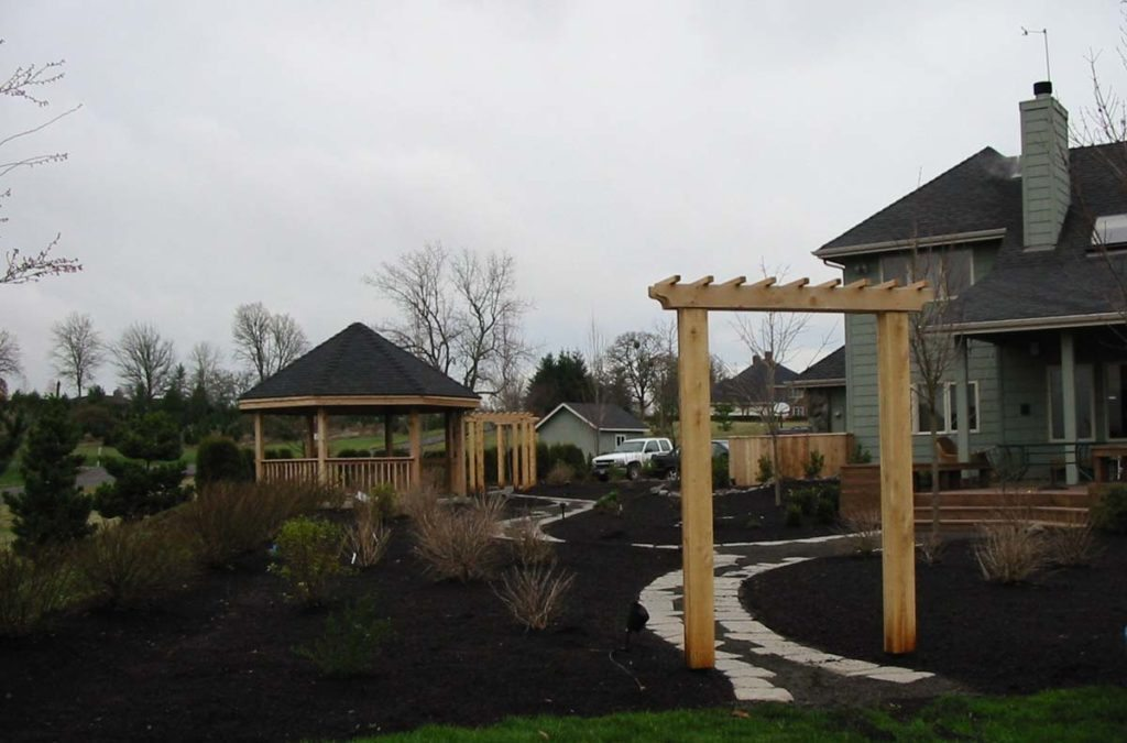 split stone gravel path in landscape design and gazebo 7