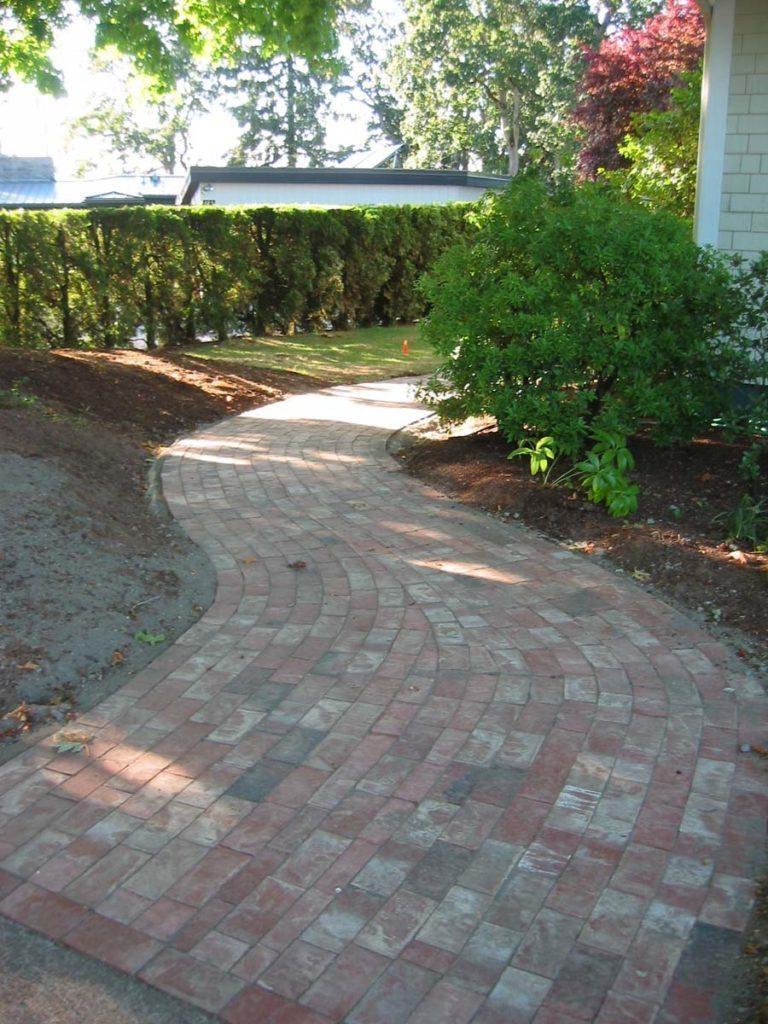 used clay brick walkway design landscape salem