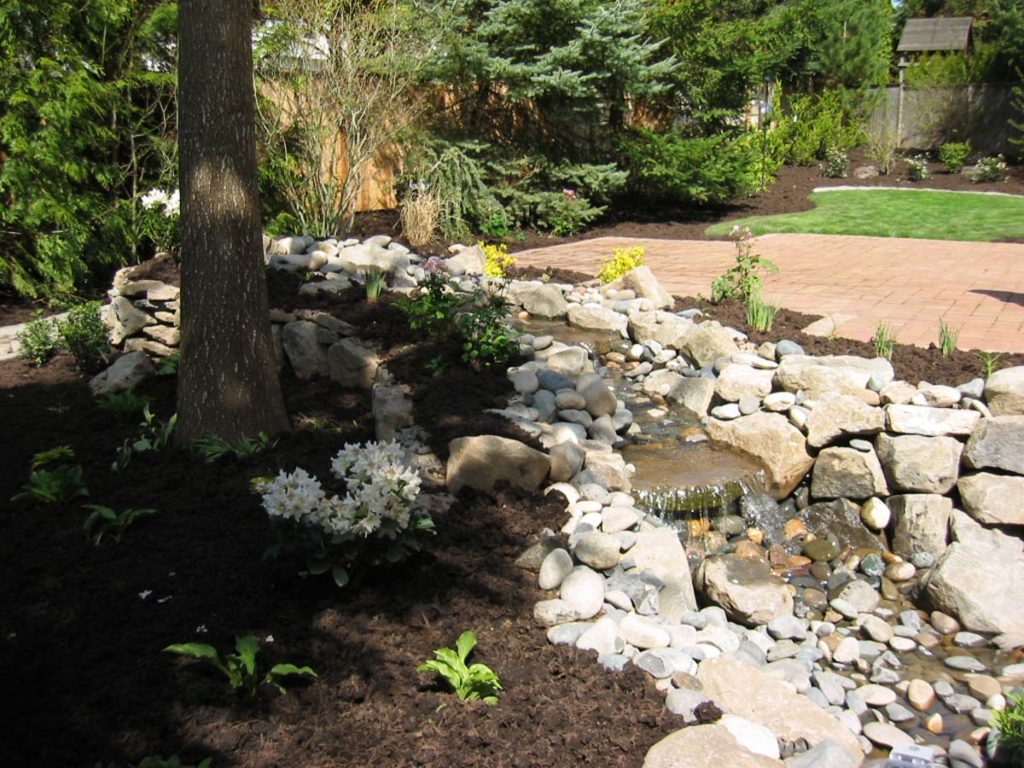 pond with waterfall and boulders landscape design