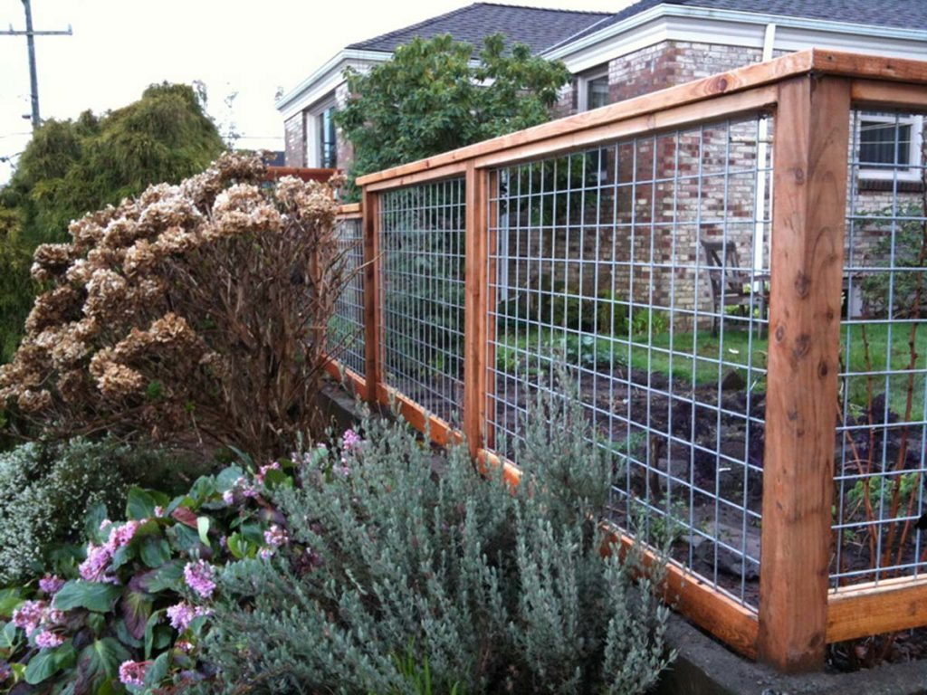 Wire garden fencing with cedar posts landscape design