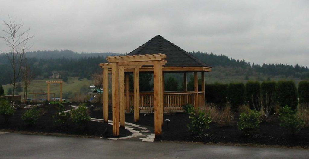 split stone gravel path in landscape design and gazebo 4