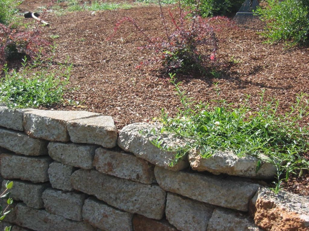 recycled concrete wall landscape design