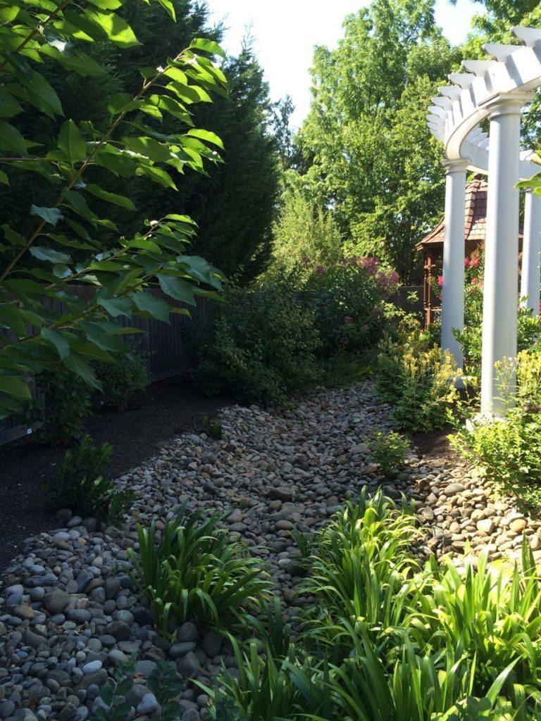 rain garden planting with pergola landscape design 5