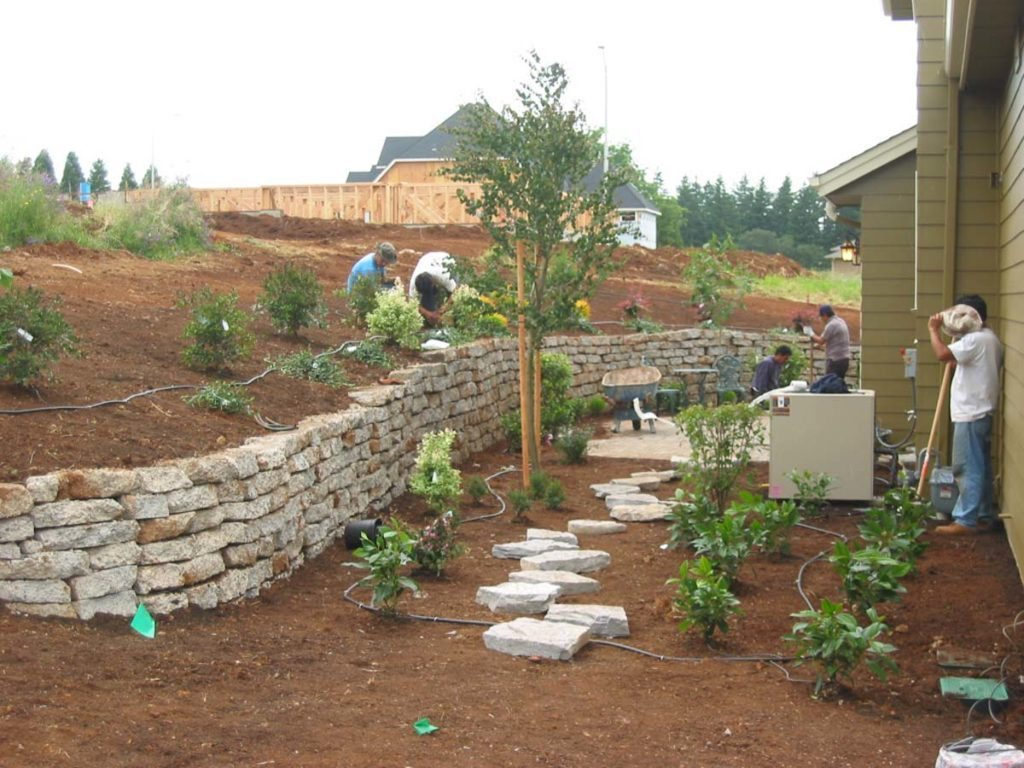 finishing recycled concrete retaining wall design salem