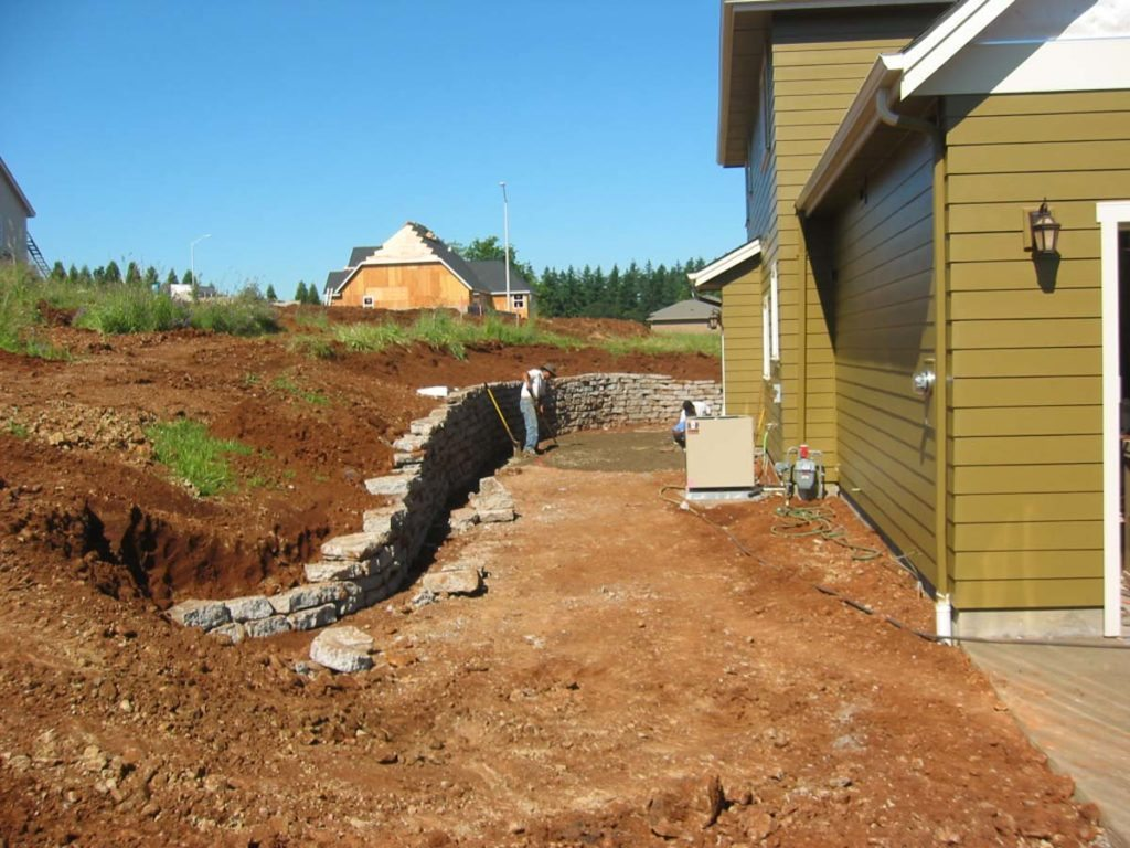 recycled concrete retaining wall install salem oregon