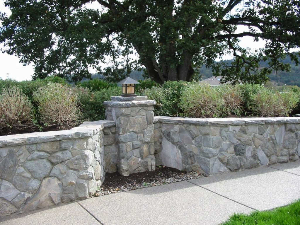 concrete exposed aggregate and rock wall landscape in salem 4