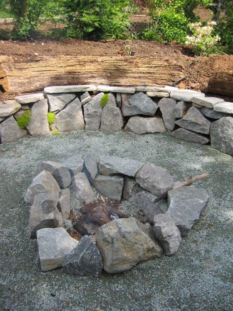 fire pit and covered deck landscape design