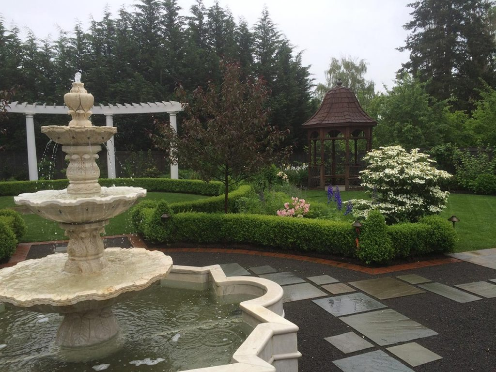 salem fountain pergola pavers gravel landscape