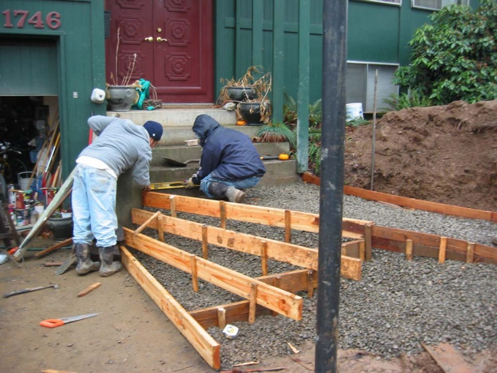 entry construction for concrete steps landscape
