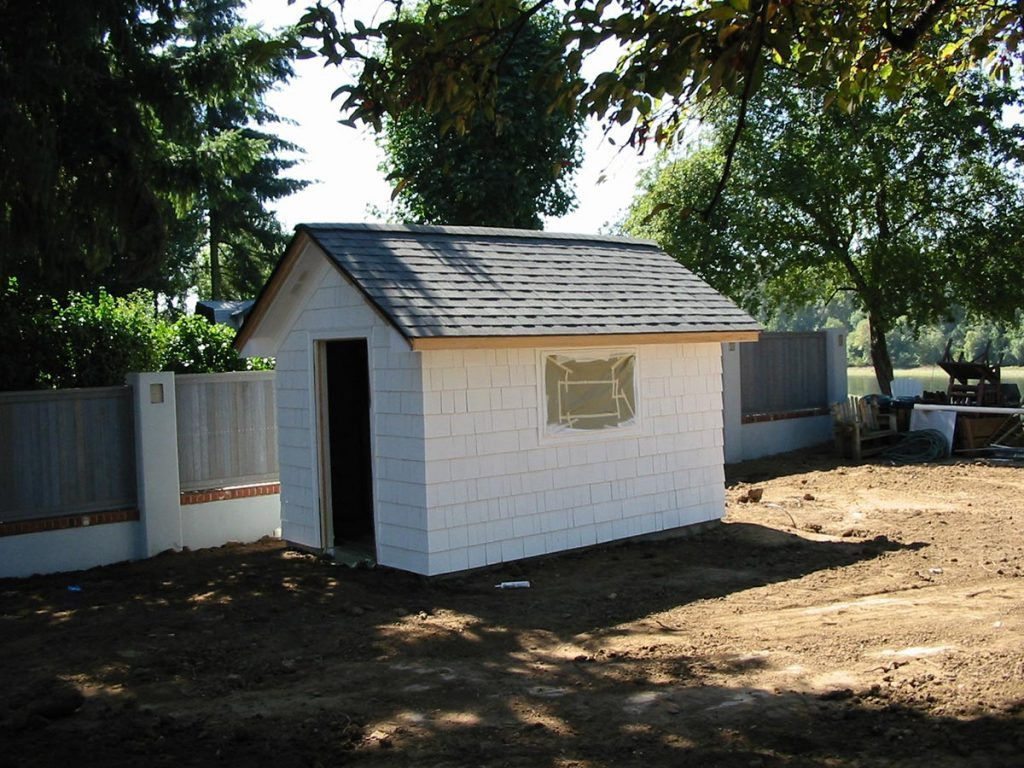 garden shed with windows and bench in salem oregon before
