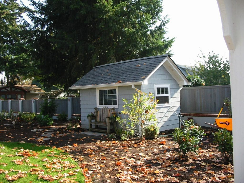 garden shed with windows and bench in salem oregon 2
