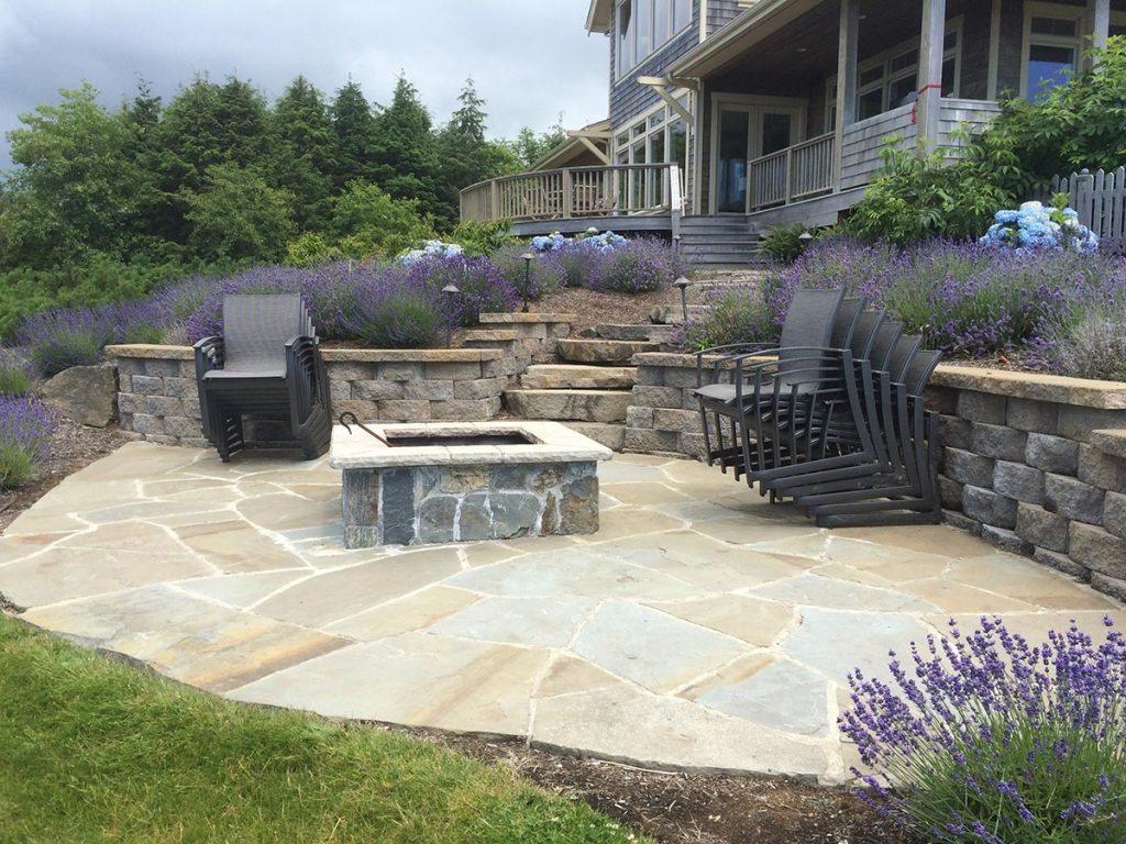 fire spaces and mortared flagstone landscape design