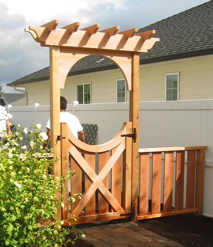 border arbor and gate with landscape design 2