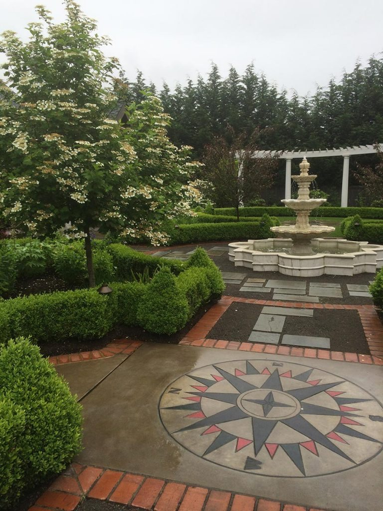 marble fountain and bluestone courtyard landscape 2