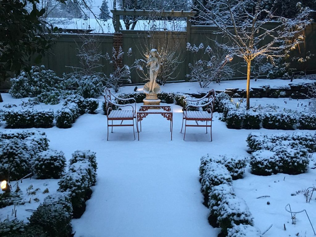 garden geometry with outdoor living in snow
