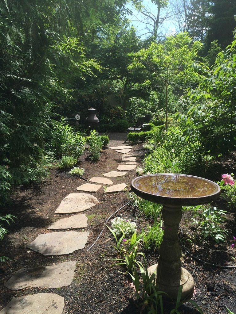 split stone pathway with birdbath landscape design