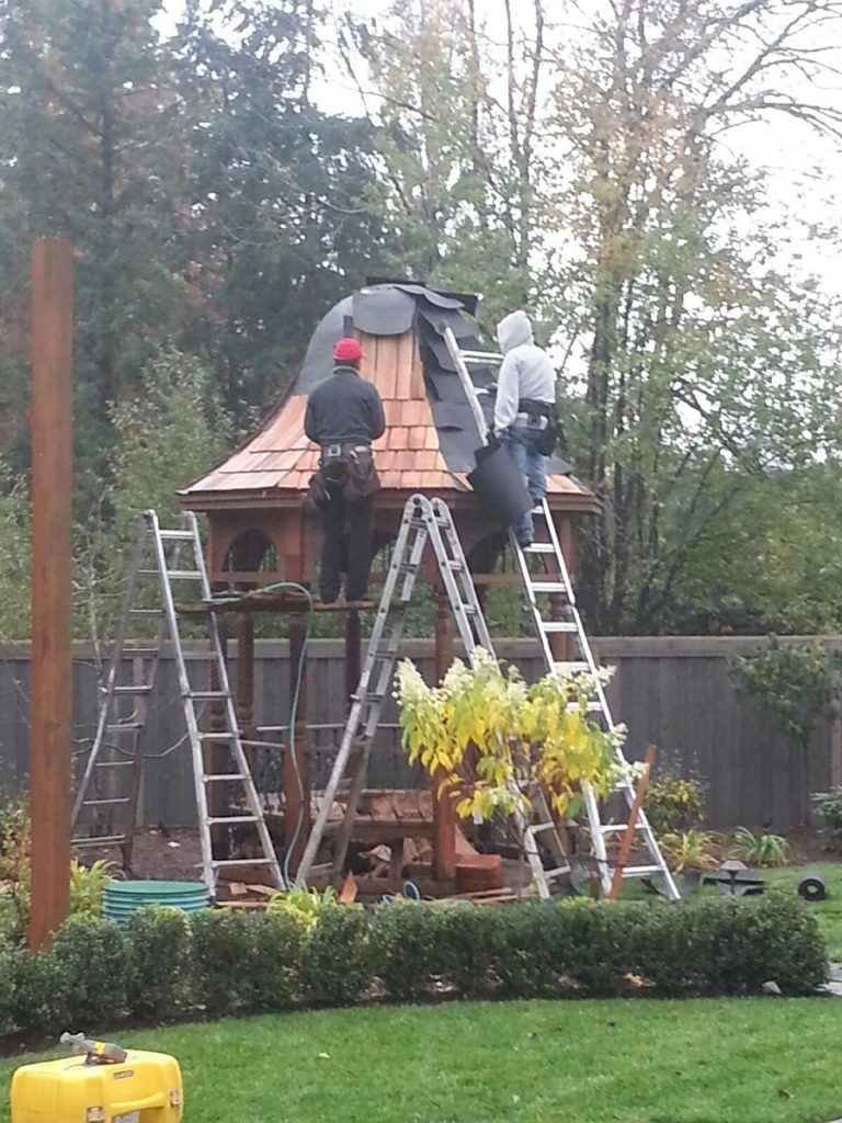 gazebo construction with cedar shake roofing in landscape salem oregon 2
