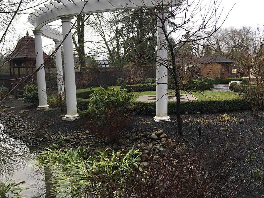 rain garden planting with pergola landscape design 4