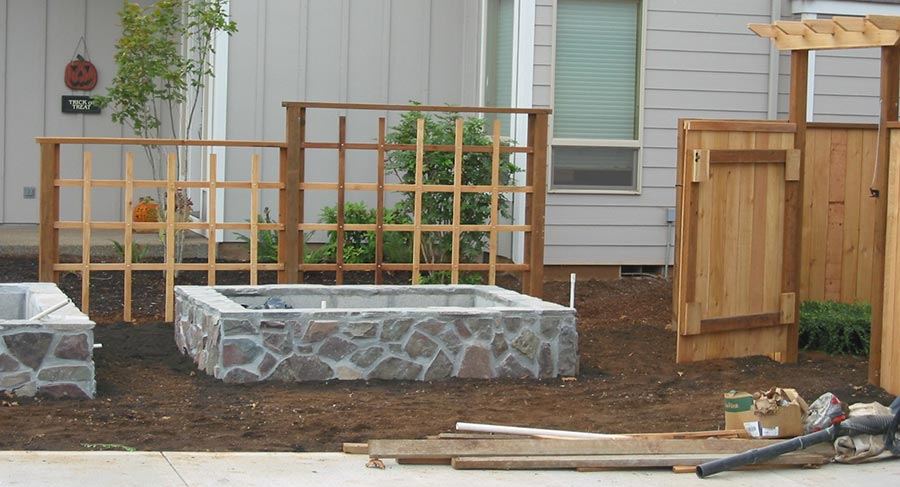 raised beds flagstone construction landscape 7