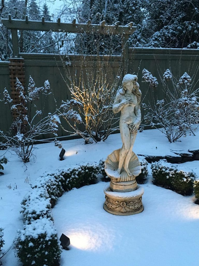 statuary marble with snow landscape design